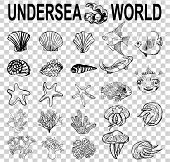 A Set Of Sketches Of The Inhabitants Of The Underwater World. Different Types Of Shells, Corals, Sta poster