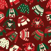 Seamless Vector Ugly Christmas Sweaters Pattern. Knitted Winter Jumpers With Norwegian Ornaments And poster