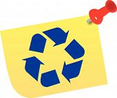 Thumb Tacked Note W Recycle Symbol.Eps