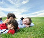Happy children in grass