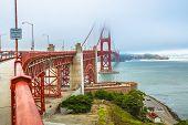 Fort Point View Of Golden Gate Bridge South Shore, Symbol Landmark Of San Francisco, California, Uni poster