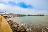 Pier At Crissy Field Overlooking On Golden Gate Bridge, Icon Of San Francisco In California, United  poster