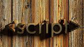 <script> Brass Write On Wooden Background - 3d Rendering Illustration poster