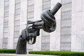 NEW YORK CITY - JUNE 17: Non Violence is a sculpture by Fredrik Reutersward at the United Nations He