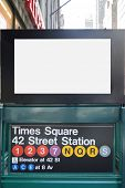 New york city Times square subway stop with a blank billboard.