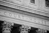 pic of judiciary  - Marble courthouse building facade in black and white - JPG
