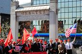 NEW YORK CITY - APRIL 4: Rally in Chinatown under Kimlau Arch in Kimlau Square in support of Sino-Am