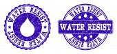 Grunge Water Resist Stamp Seal Watermarks. Water Resist Text Inside Blue Unclean Rubber Seals With G poster