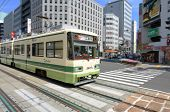 HIROSHIMA, JAPAN - JULY 16: Being located on a delta, Hiroshima opted to keep their tram line from t