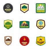 Camp Expedition Logo Emblem Set. Flat Set Of 9 Camp Expedition Logo Emblem For Web Design poster