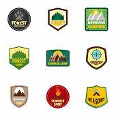 Camp Expedition Logo Emblem Set. Flat Set Of 9 Camp Expedition Logo Emblem For Web Design poster