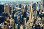 Aerial view of midtown Manhattan with landmark buildings in New York City. poster