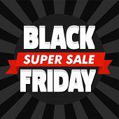 Black Friday Super Sale Concept Background. Flat Illustration Of Black Friday Super Sale Concept Bac poster
