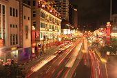 The night scene during the Chinese New Year period in Chinatown, Singapore
