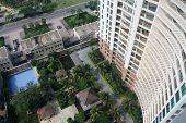 A good bird's-eye view of houses and garden