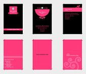 Three pink theme business cards with bleed (Ready to print)