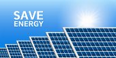 Save Energy Solar Panel Concept Background. Realistic Illustration Of Save Energy Solar Panel Concep poster