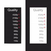 Video Quality Selection. The Quality Of The Video, Movie Or Picture On White And Black Background. V poster