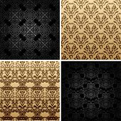 seamless set four vintage backgrounds ornament decor retro