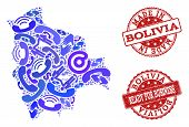 Business Contacts Composition Of Blue Mosaic Map Of Bolivia And Scratched Stamps. Vector Red Seals W poster