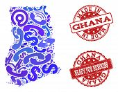 Business Contacts Composition Of Blue Mosaic Map Of Ghana And Scratched Seals. Vector Red Imprints W poster