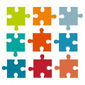 Set Of Different Colored Puzzle Pieces Isolated On White Background. Parts Of Multi-colored Puzzles. poster