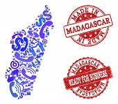 Business Contacts Combination Of Blue Mosaic Map Of Madagascar Island And Scratched Seal Stamps. Vec poster