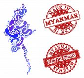 Business Contacts Combination Of Blue Mosaic Map Of Myanmar And Scratched Seals. Vector Red Seals Wi poster