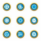 Circular Sign Icons Set. Flat Set Of 9 Circular Sign Icons For Web Isolated On White Background poster