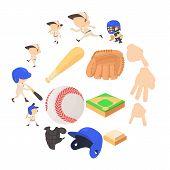 Baseball Items Icons Set. Cartoon Illustration Of 16 Baseball Items Icons For Web poster
