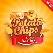 Potato Chips On Gold Sunburst Background.100 Percent Natural, Organic And Fresh Healthy Food. Perfec poster
