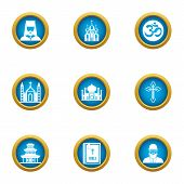 Religious Peace Icons Set. Flat Set Of 9 Religious Peace Icons For Web Isolated On White Background poster