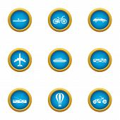 Transport For Movement Icons Set. Flat Set Of 9 Transport For Movement Icons For Web Isolated On Whi poster