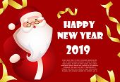 Happy New Year Red Banner Design With Cartoon Santa Claus And Sample Text. Calligraphy With Cartoon  poster