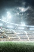 Soccer Stadium. Professional Sport Arena. Night Stadium Under The Moon With Lights, Fans And Flags.  poster