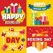 Boxing Day Banner Set. Flat Illustration Of Boxing Day Vector Banner Set For Web Design poster