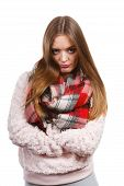 Grumpy Woman Feeling Cold Wearing Warm Scarf poster