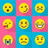 Digital Emotion Icons Set. Flat Set Of 9 Digital Emotion Vector Icons For Web Isolated On White Back poster