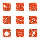 Paris Landscape Icons Set. Grunge Set Of 9 Paris Landscape Vector Icons For Web Isolated On White Ba poster