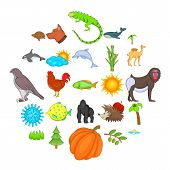 Climate Icons Set. Cartoon Set Of 25 Climate Vector Icons For Web Isolated On White Background poster