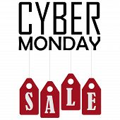 Cyber Monday Vector Illustration. Cyber Monday Sale Website Display With Hang Tags Vector Promotion. poster