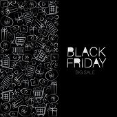 Black Friday. White Signs Arranged In A Rectangle. Web Banner, Logo, Emblem And Label. Inscription D poster
