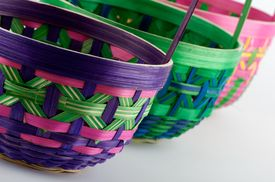 pic of gift basket  - An image of multiple colorful Easter baskets - JPG