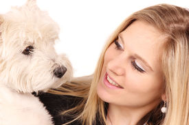 foto of beautiful woman  - Attractive happy young woman with dog - JPG