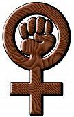 Poder feminino no grão de madeira