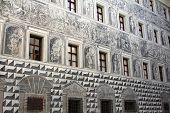 Grisaille (Grey Relief) : Detailed painting on the wall in the courtyard of Schloss Ambras Castle, I