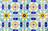 Old And Colorful Italian Painted Tiles With Interesting Designs