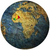 Mali Flag On Globe Map