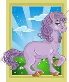 fabelhafte Violet Einhorn auf die Märchenlandschaft