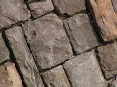 image of fieldstone-wall  - stone wall at angle for background texture - JPG